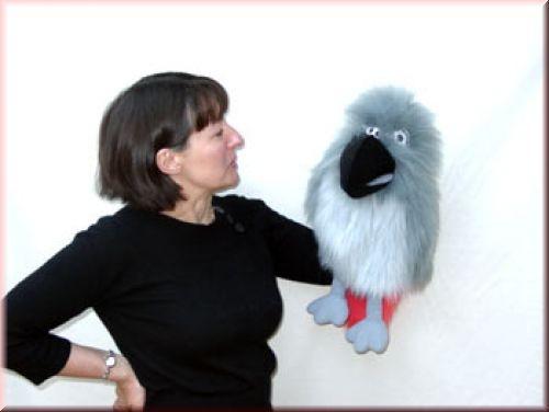 Handpuppe Papagei grau von The Puppet Company