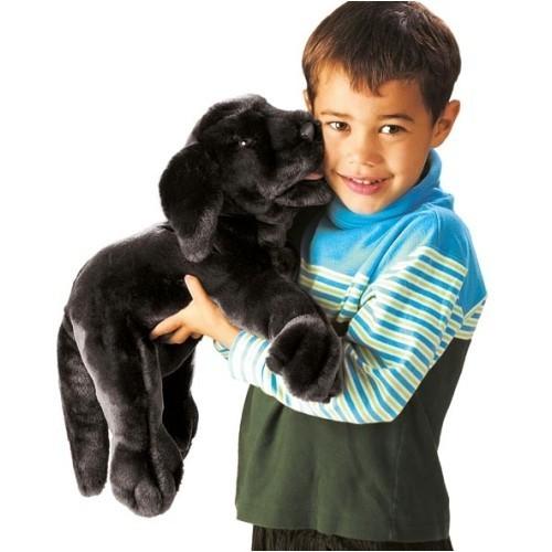 Folkmanis Handpuppe schwarzer Labrador