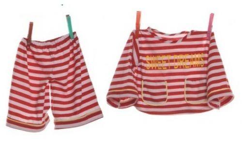 Living Puppets Schlafanzug rot gestreift für die 65cm Puppen