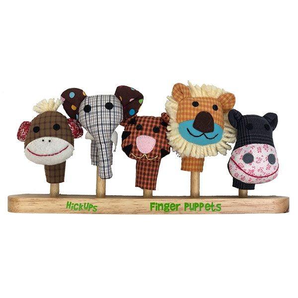 5 Fingerpuppen mit Holzständer - Wilde Tiere