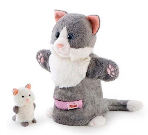 Handpuppe Katze mit Fingerpuppe Baby von Trudi