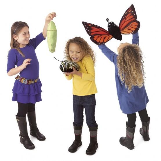 Folkmanis Handpuppe Monarch Schmetterling in Metamorphose
